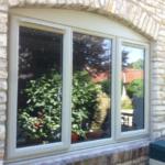 window of stone brick building