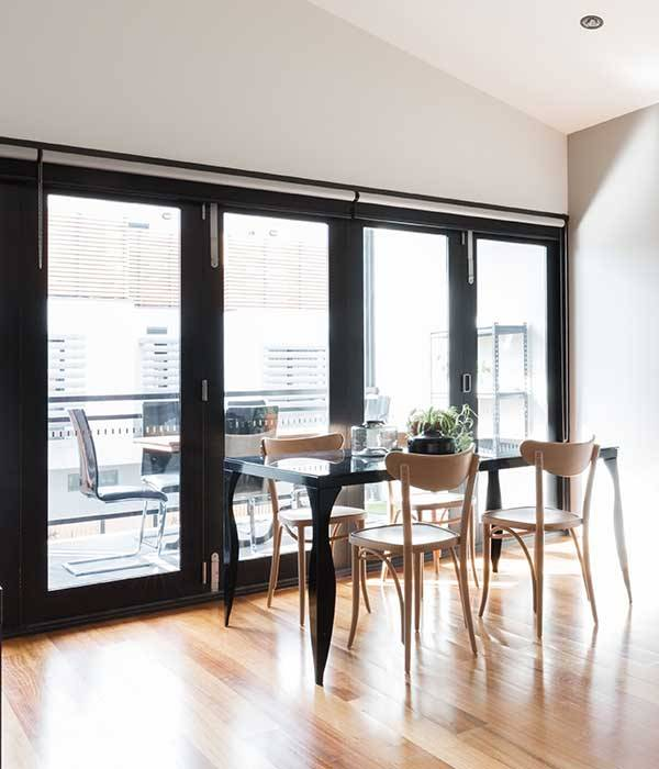 bi-folding doors in contemporary dining room
